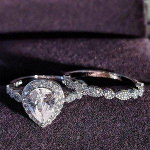 NEW Teardrop Halo Diamond Sterling Silver Ring Set